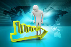 3d man looking the arrow going to down. In color background Stock Photo