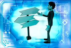 3d man looking for direction on road sign illustration Royalty Free Stock Images