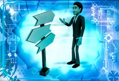 3d man looking for direction on road sign illustration Stock Photo