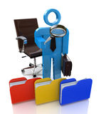 3d man looking for the document to a file folder. In the design of the information related to the search Stock Image
