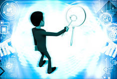 3d man looking and examine big magnifying glass using small glass illustrationa Royalty Free Stock Photo
