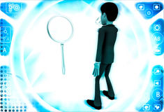 3d man looking and examine big magnifying glass using small glass illustrationa Royalty Free Stock Image