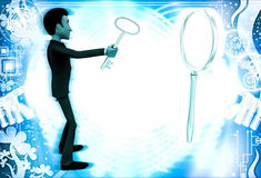 3d man looking and examine big magnifying glass using small glass illustrationa Royalty Free Stock Photos