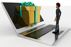 3d man looking at gift coming through laptop screen concept Royalty Free Stock Image