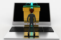 3d man looking at gift coming through laptop screen concept Stock Photo