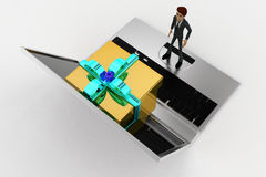 3d man looking at gift coming through laptop screen concept Stock Images
