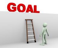 3d man looking at goal. 3d illustration of person standing near ladder and looking and planning for achieving his target goal. 3d rendering of human people Royalty Free Stock Image