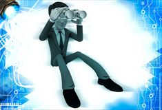 3d man looking through golden binocular illustration Stock Photos