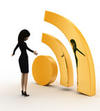 3d man looking at golden wifi icon concept Royalty Free Stock Photos