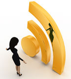 3d man looking at golden wifi icon concept Royalty Free Stock Image
