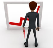 3d man looking at growth graph and with tools concept Stock Photos