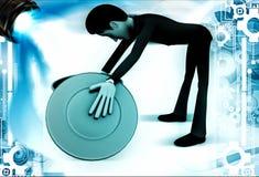 3d man looking inside blue dustbin illustration Stock Images