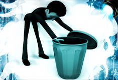 3d man looking inside blue dustbin illustration Royalty Free Stock Images