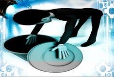 3d man looking inside blue dustbin illustration Royalty Free Stock Image