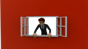 3d man looking out of window concept Stock Photos