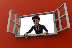 3d man looking out of window concept Stock Photography