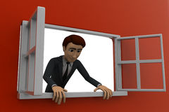 3d man looking out of window concept Stock Images