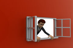 3d man looking out of window concept Royalty Free Stock Photography