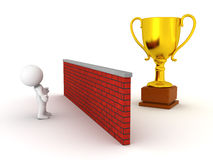 3D Man Looking over wall to gold trophy Stock Photography