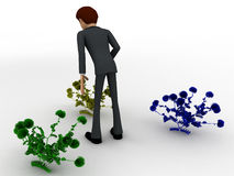 3d man looking at plants concept Royalty Free Stock Photography