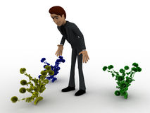 3d man looking at plants concept Stock Photography