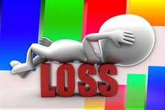 3d Man Loss Illustration Royalty Free Stock Photo