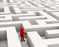 3d man lost in the maze. 3d rendering of confused and lost person finding path through maze. 3d white person people man Stock Image