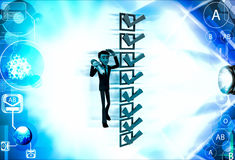 3d man with lots of alternatives illustration Stock Images