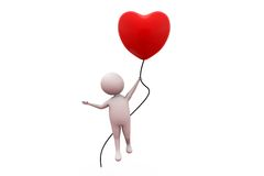 3d man with love balloon concept Royalty Free Stock Photo