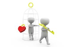3d man love cage concept Stock Image