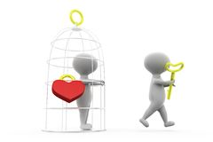 3d man love cage concept Stock Photography