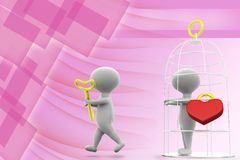 3d man love cage illustration Royalty Free Stock Photo