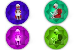 3D Man love with computer concept icon Stock Photo