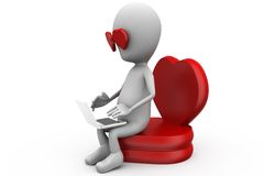 3d man love with computer concept Stock Photography