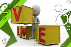 3d man love cube illustration Royalty Free Stock Images