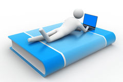 3d man lying on book with laptop. In white background Royalty Free Stock Image