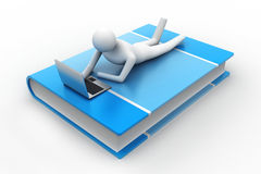 3d man lying on book with laptop. In white background Stock Images