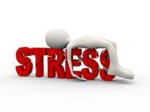 3d man lying on cracked word stress Stock Photos