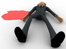 3d man lying dead on floor with blood concept Stock Photography