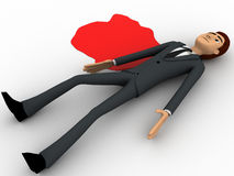 3d man lying dead on floor with blood concept Royalty Free Stock Image