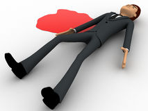 3d man lying dead on floor with blood concept Stock Images