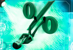 3d man lying down with legs on percentage sign illustration Stock Photography
