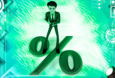 3d man lying down with legs on percentage sign illustration Royalty Free Stock Photo
