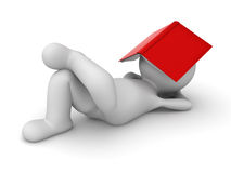 3d man lying down with a red book covering his face Stock Photos