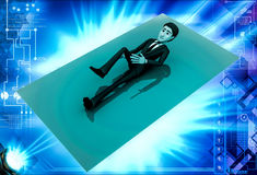 3d man lying and exercising illustration Royalty Free Stock Image