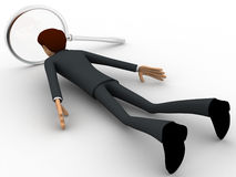 3d man lying on floor and looking through magnifying glass concept Royalty Free Stock Photography