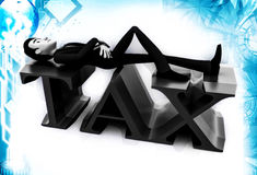 3d man lying on tax text illustration Royalty Free Stock Photos