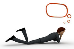 3d man lying and thinking with chat bubble concept Stock Images