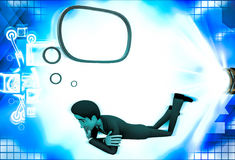 3d man lying and thinking with chat bubble illustration Stock Images
