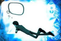 3d man lying and thinking with chat bubble illustration Royalty Free Stock Image
